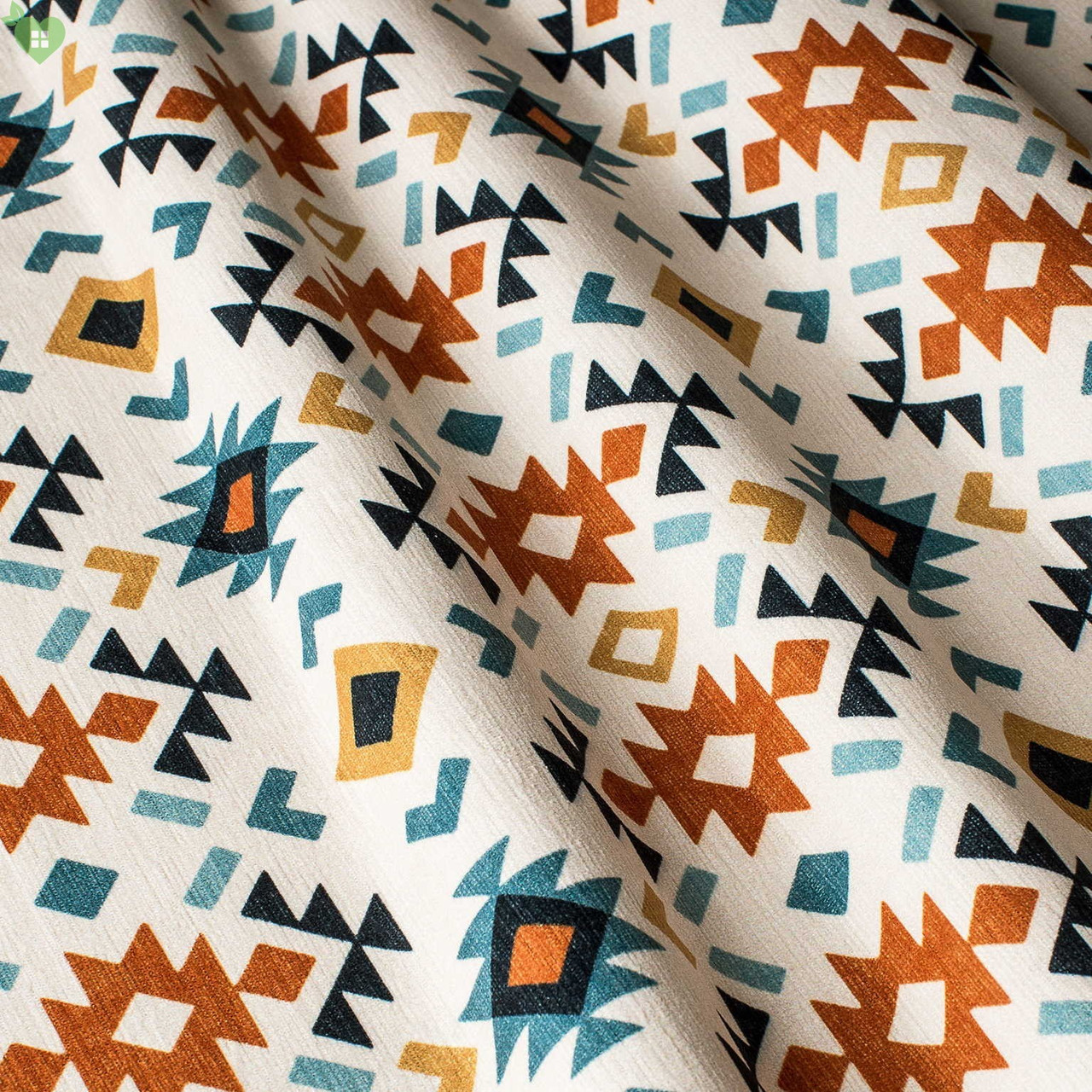 Декоративна тканина в дрібні помаранчеві і блакитні ромби на білому Іспанія 83278v1