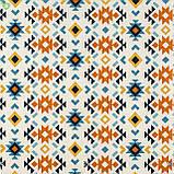 Декоративна тканина в дрібні помаранчеві і блакитні ромби на білому Іспанія 83278v1, фото 3