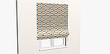 Декоративна тканина в дрібні помаранчеві і блакитні ромби на білому Іспанія 83278v1, фото 8