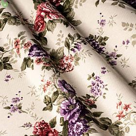 Декоративная ткань веточки бордовых и фиолетовых роз Турция 81441v6