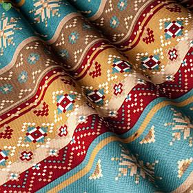 Декоративна тканина з візерунком бежевого червоного і блакитного кольору тефлон 82635v1