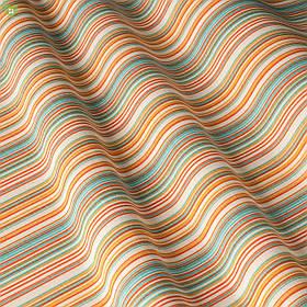 Декоративная ткань в полоску оранжево-желтого цвета с голубым Турция 82789v72