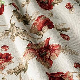 Декоративная ткань с мелкими бордово-красными маками на льняном фоне Испания 82080v1