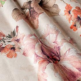 Декоративная ткань с мазками крупных оранжевых и бежевых растений нанесенных на светло-розовое полотно Испания