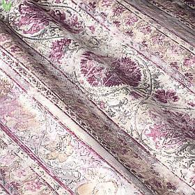 Декоративная ткань с волшебными сиреневыми узорами на полосках Испания 82896v2
