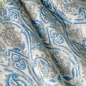Декоративная ткань с крупными классическими узорами синего и серого цвета на пятнисто-белом Испания 82880v1