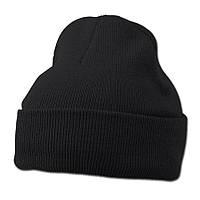Черная вязаная шапка с отворотом