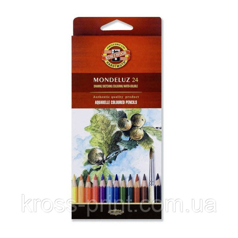 Олівці кольорові акварельні Mondeluz, 24 кол.