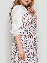 Симпатичное белое платье длинное свободного кроя в горошек, большие размеры от 52 до 58, фото 2