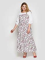 Симпатичное белое платье длинное свободного кроя в горошек, большие размеры от 52 до 58, фото 3