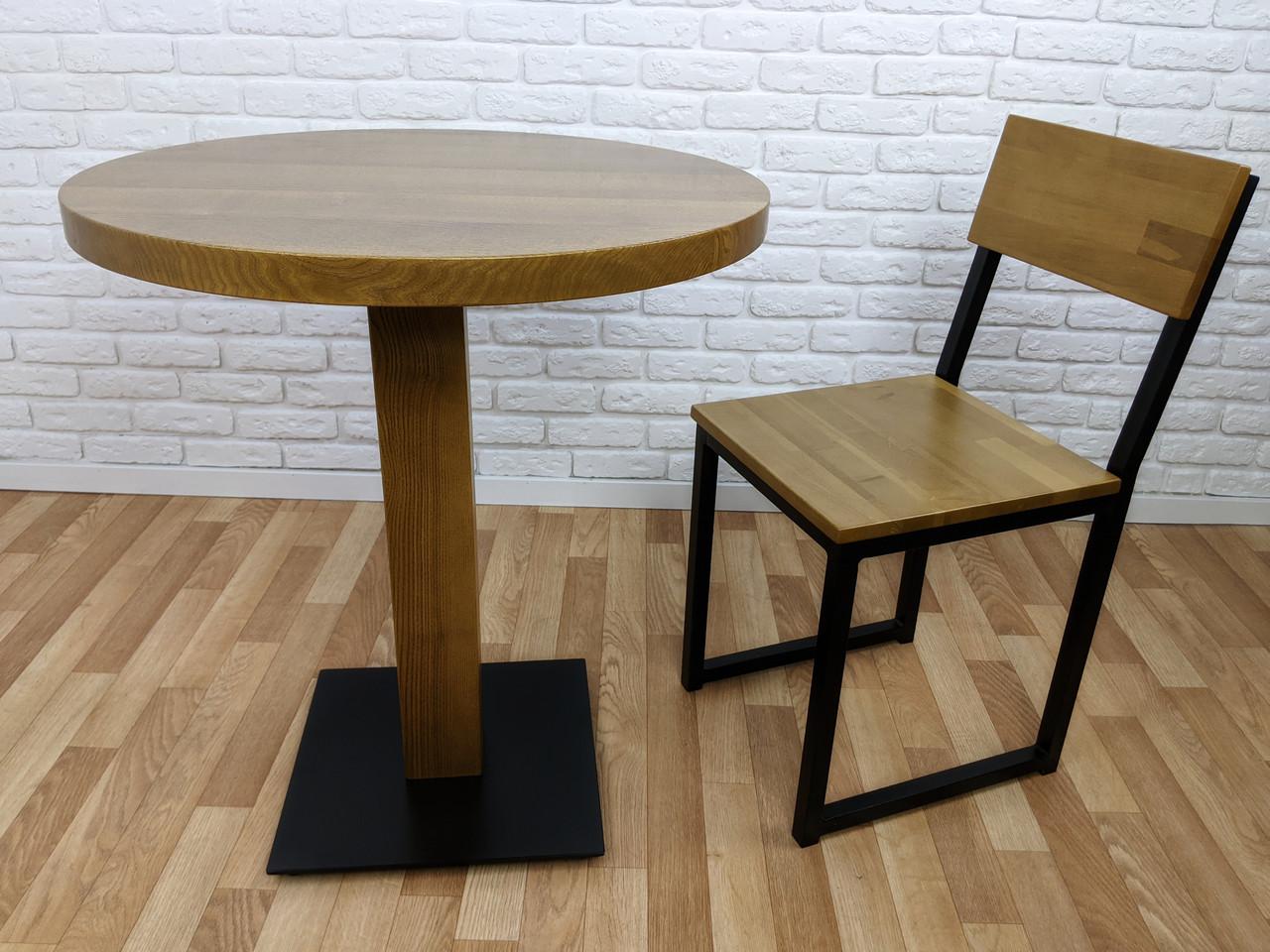 """Дерев'яний круглий стіл """"UNO-4"""" для кафе і стілець 1+1"""