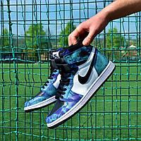 Мужские Кроссовки Nike Air Jordan 1 High OG Tie-Dye найк аир джордан тай дай синие чоловічі кросівки аір