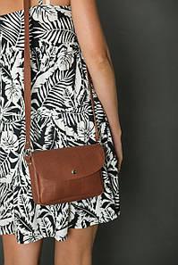 Сумка жіноча. Шкіряна сумочка Мія, Шкіра Італійський краст, колір Коричневий, тиснення №2