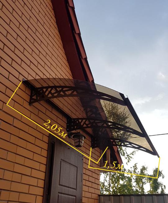 Готовий збірний дашок 2,05х1,5 м Хайтек з монолітний полікарбонатом 3 мм
