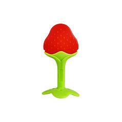 Прорезыватель силиконовый CUMENSS Strawberry для зубов грудничков с фруктами Fruit клубника