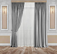 Комплект Сонет Оксамитові Світло-сірі штори 2 шт + Тюль Вуаль Біла 1 шт, фото 1
