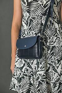 Сумка жіноча. Шкіряна сумочка Мія, Шкіра Італійський краст, колір Синій, тиснення №2