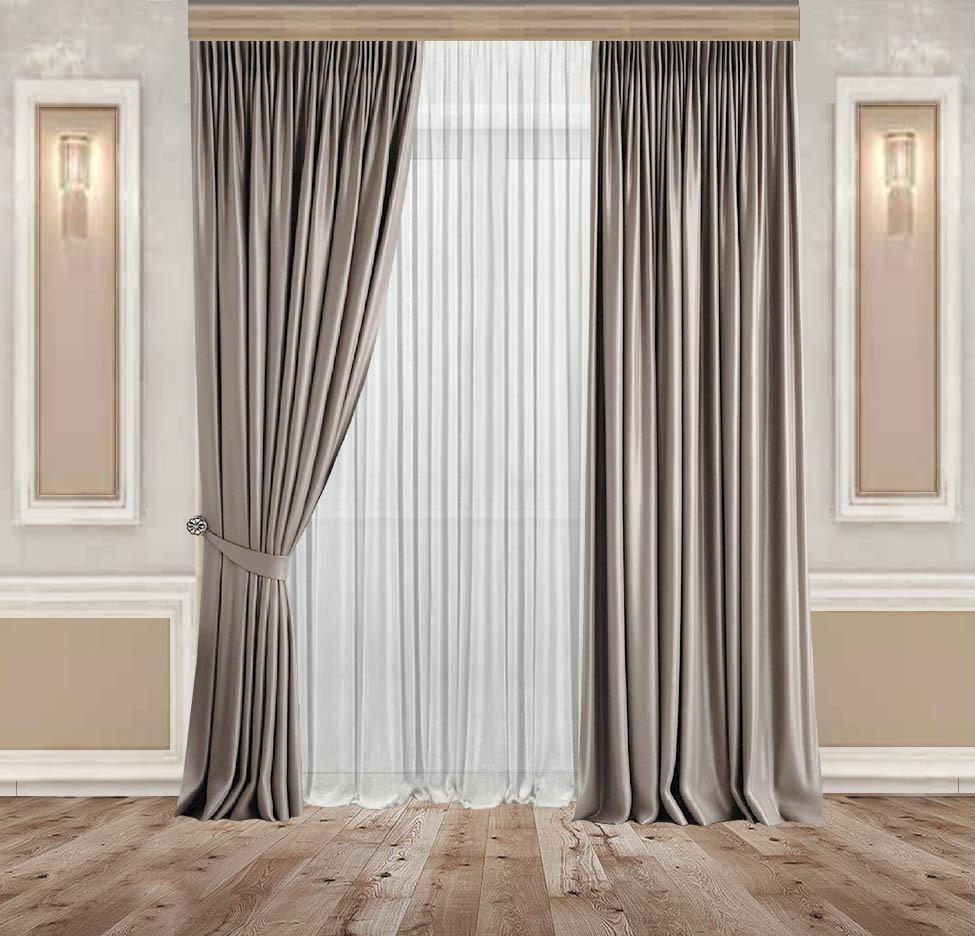 Комплект Сонет Оксамитові Сіро-бежеві штори 2 шт + Тюль Вуаль Біла 1 шт