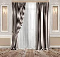 Комплект Сонет Оксамитові Сіро-бежеві штори 2 шт + Тюль Вуаль Біла 1 шт, фото 1