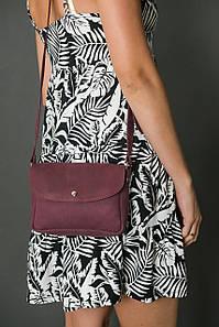 Сумка жіноча. Шкіряна сумочка Мія, Вінтажна шкіра, колір Бордо, тиснення №4