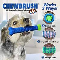 Силиконовая игрушка самоочищающаяся зубная щетка косточка Chewbrush для чистки зубов собак, фото 8