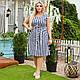 Смугасте плаття великого розміру на ґудзиках з поясом, фото 5