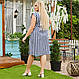 Смугасте плаття великого розміру на ґудзиках з поясом, фото 4