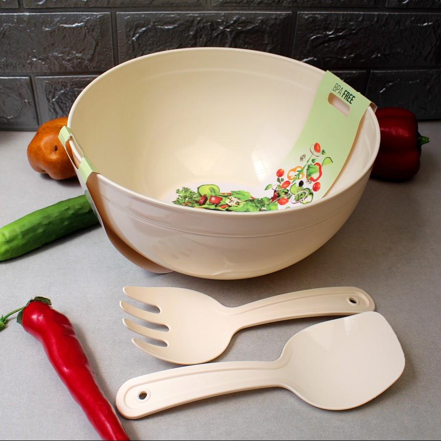 Велика салатна миска з салатними приладами 5,5 л