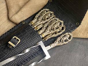 """Подарунковий набір аксесуарів для шашлику """"Леви"""" з подвійним шампуром і виделкою в закритому шкіряному чохлі, фото 3"""