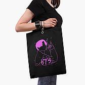Эко сумка шоппер черная на молнии Чон Джонгук БТС (Jungkook BTS) (9227-3277-BKZ)  41*35 см