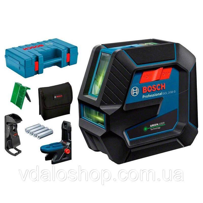 Лазерный нивелир bosch GCL 2-50 G Professional 0601066M02 держатель + зажим + кейс+ мишень