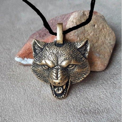 Модний бронзовий кулон вовк, етно, талісман, амулет