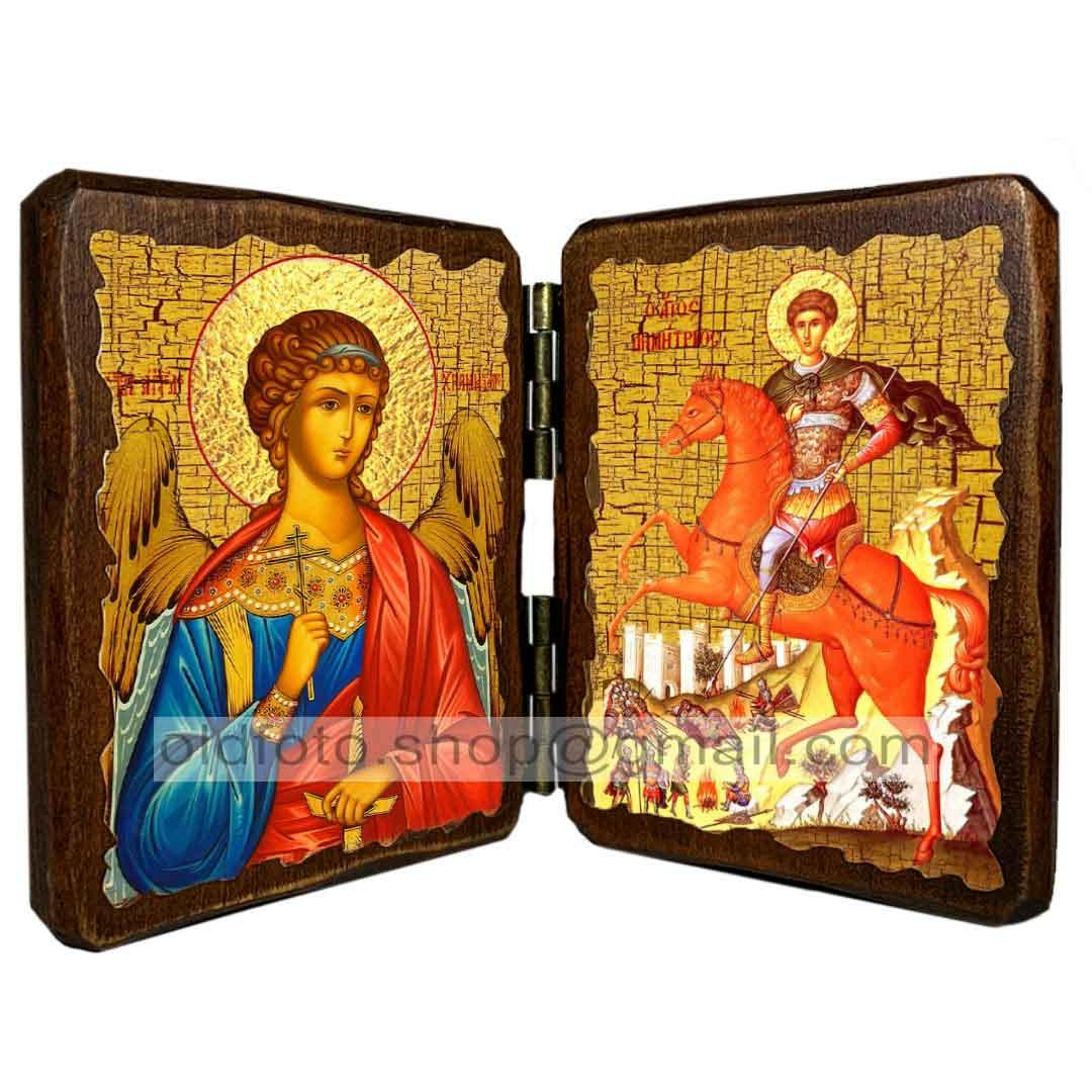 Икона Димитрий (Дмитрий) Святой Великомученик Солунский на коне ,икона на дереве 260х170 мм