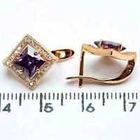 Сережки Xuping позолота 18К ромб довжина 1.3 см с914