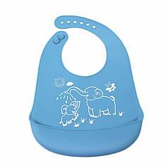 """Дитячий нагрудник-слюнявчик CUMENSS """"Мультяшки"""" Blue силіконовий з кишенею для годування малюків"""