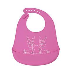 """Дитячий нагрудник CUMENSS """"Мультяшки"""" Pink слюнявчик силіконовий з кишенею для годування малюків"""