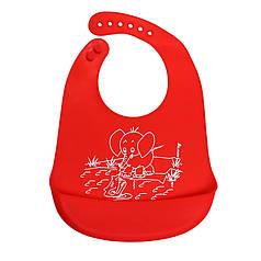 """Дитячий нагрудник CUMENSS """"Мультяшки"""" Red слюнявчик силіконовий з кишенею для годування малюків"""
