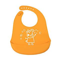 """Дитячий нагрудник CUMENSS """"Мультяшки"""" Orange слюнявчик силіконовий з кишенею для годування малюків"""