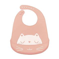 Дитячий нагрудник-слюнявчик CUMENSS Cat Pink силіконовий з кишенею для малюків