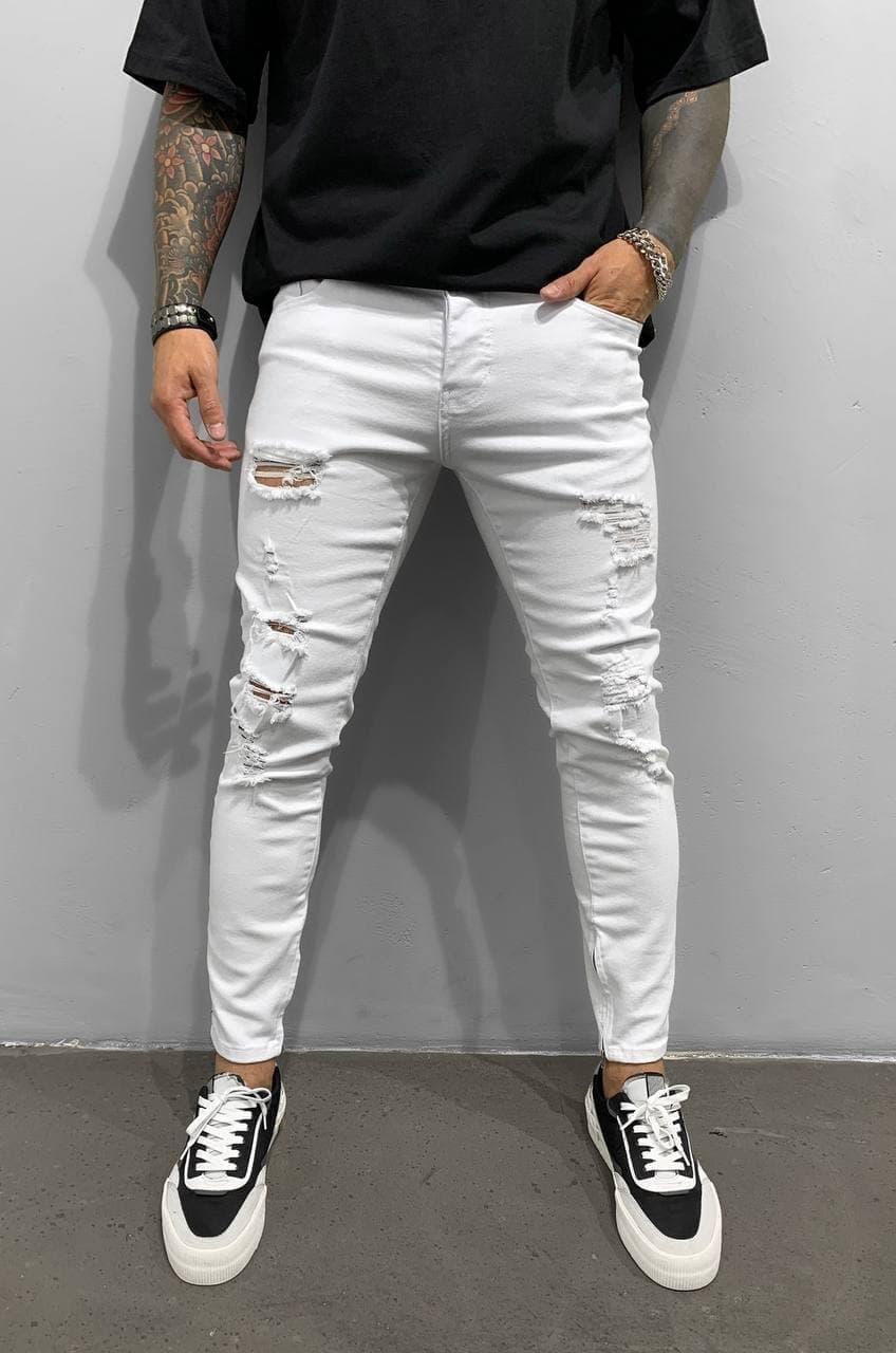 Мужские джинсы зауженные книзу (белые) рваные крутые лето s15247