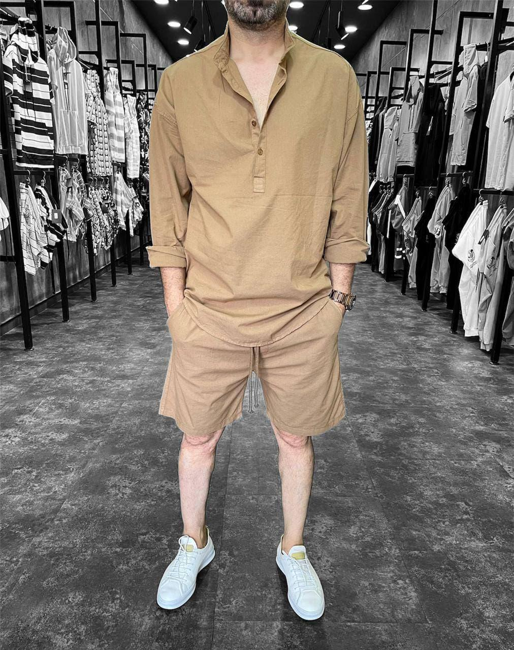 Чоловічий комплект шорти + сорочка (пісочний) з довгим рукавом на літо a9205