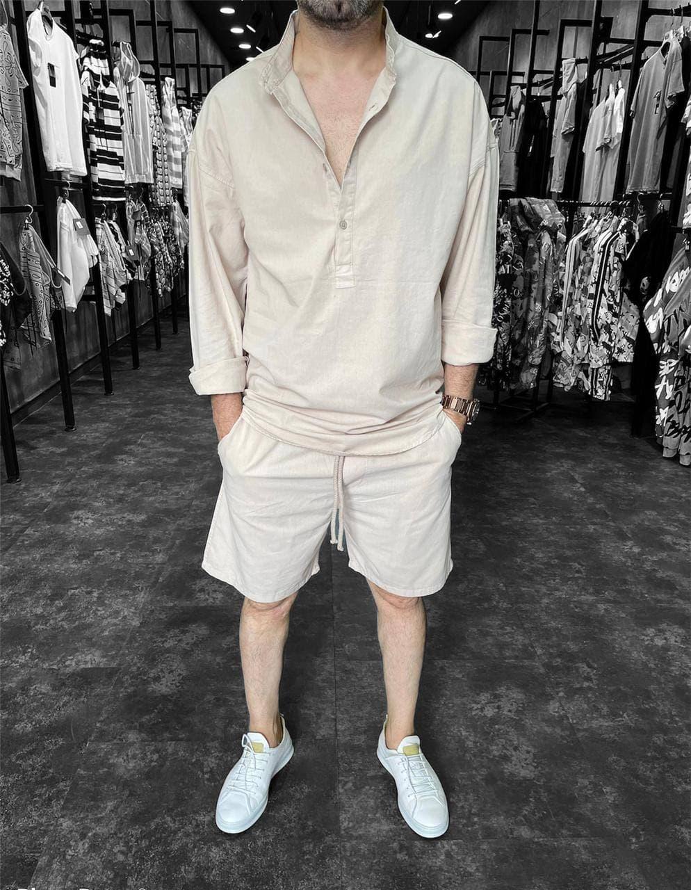 Чоловічий комплект шорти + сорочка (бежевий) з довгим рукавом костюм a9205