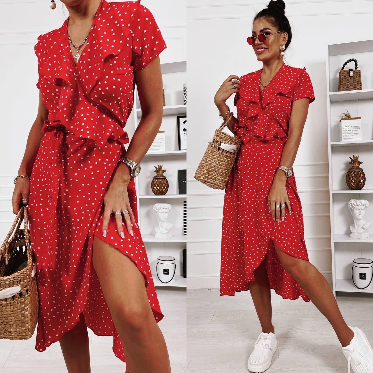 Женское миди платье на запах с коротким рукавом