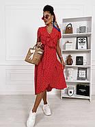 Женское миди платье на запах с коротким рукавом, фото 3