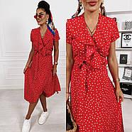 Женское миди платье на запах с коротким рукавом, фото 4