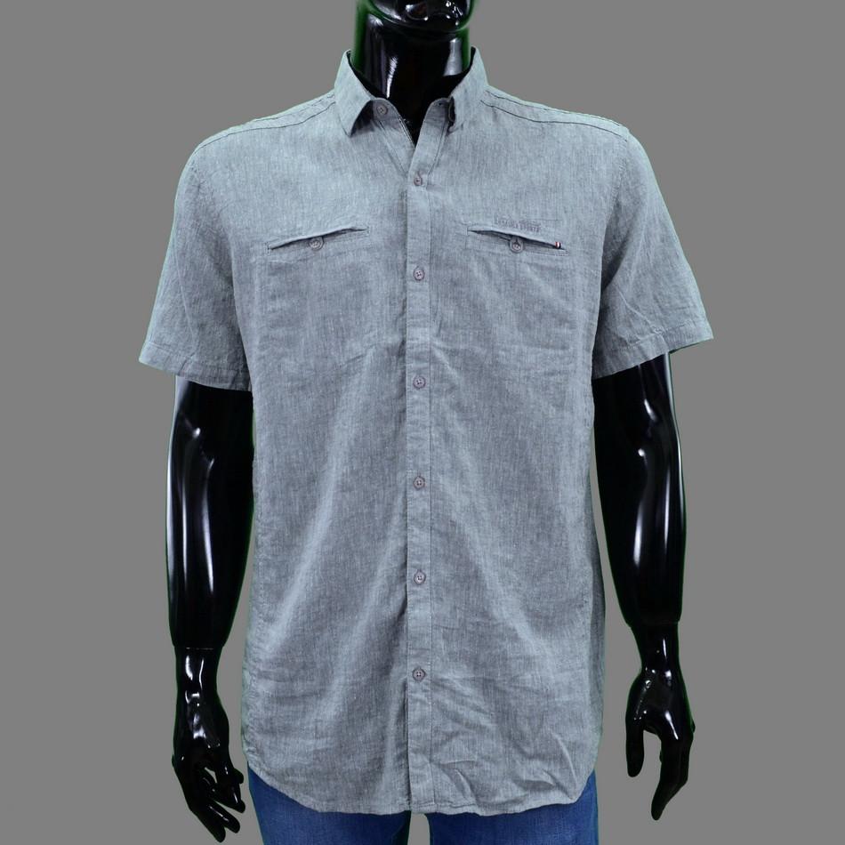 Сорочка чоловіча (приталена) з коротким рукавом Bagarda BG5725 GREY 80% льон 20% бавовна L(Р)