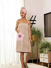 """Полотенце-халат из микрофибры на резинке 75*140 см цвет бежевый """"Flower"""""""