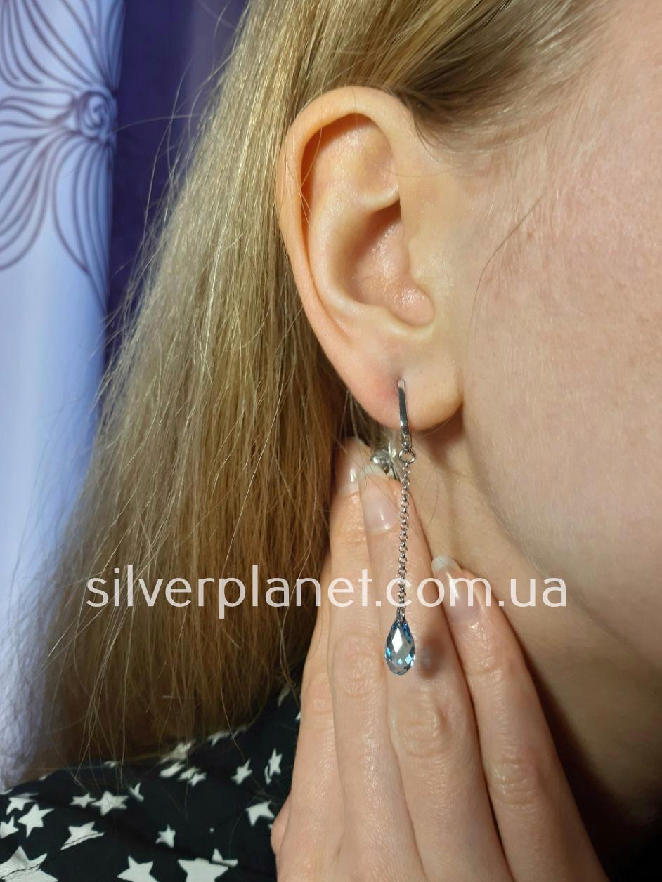 Срібні сережки висюльки з кристалом swarovski / сваровскі на ланцюжку з родієм. Срібні кульчики 925