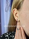 Срібні сережки висюльки з кристалом swarovski / сваровскі на ланцюжку з родієм. Срібні кульчики 925, фото 5