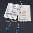 Срібні сережки висюльки з кристалом swarovski / сваровскі на ланцюжку з родієм. Срібні кульчики 925, фото 7